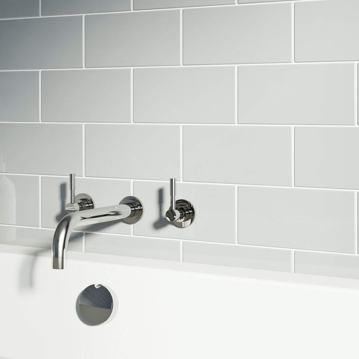 Metro Light Grey Wall Tile Bathroom Tiles Direct | Idee Renovation ...