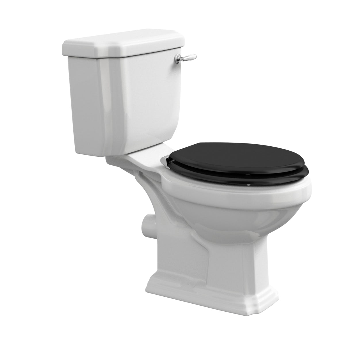 Dulwich Close Coupled Toilet With Black Wooden Toilet Seat - White toilet with black seat