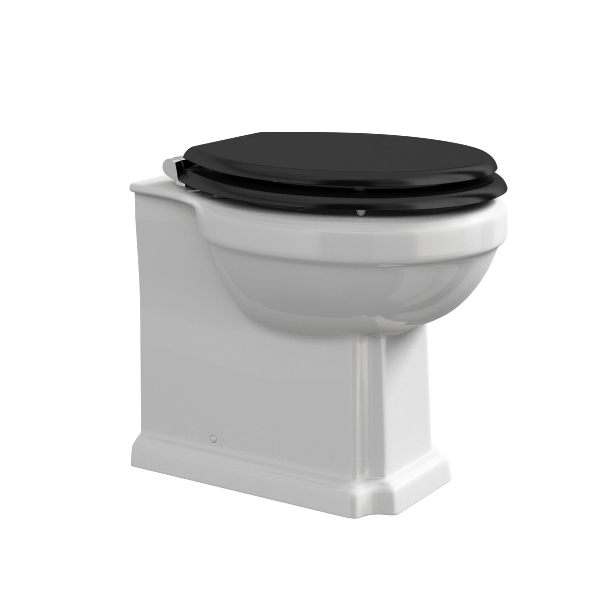 white toilet with black seat. 360 Image The Bath Co  Camberley back to wall toilet with black wooden soft