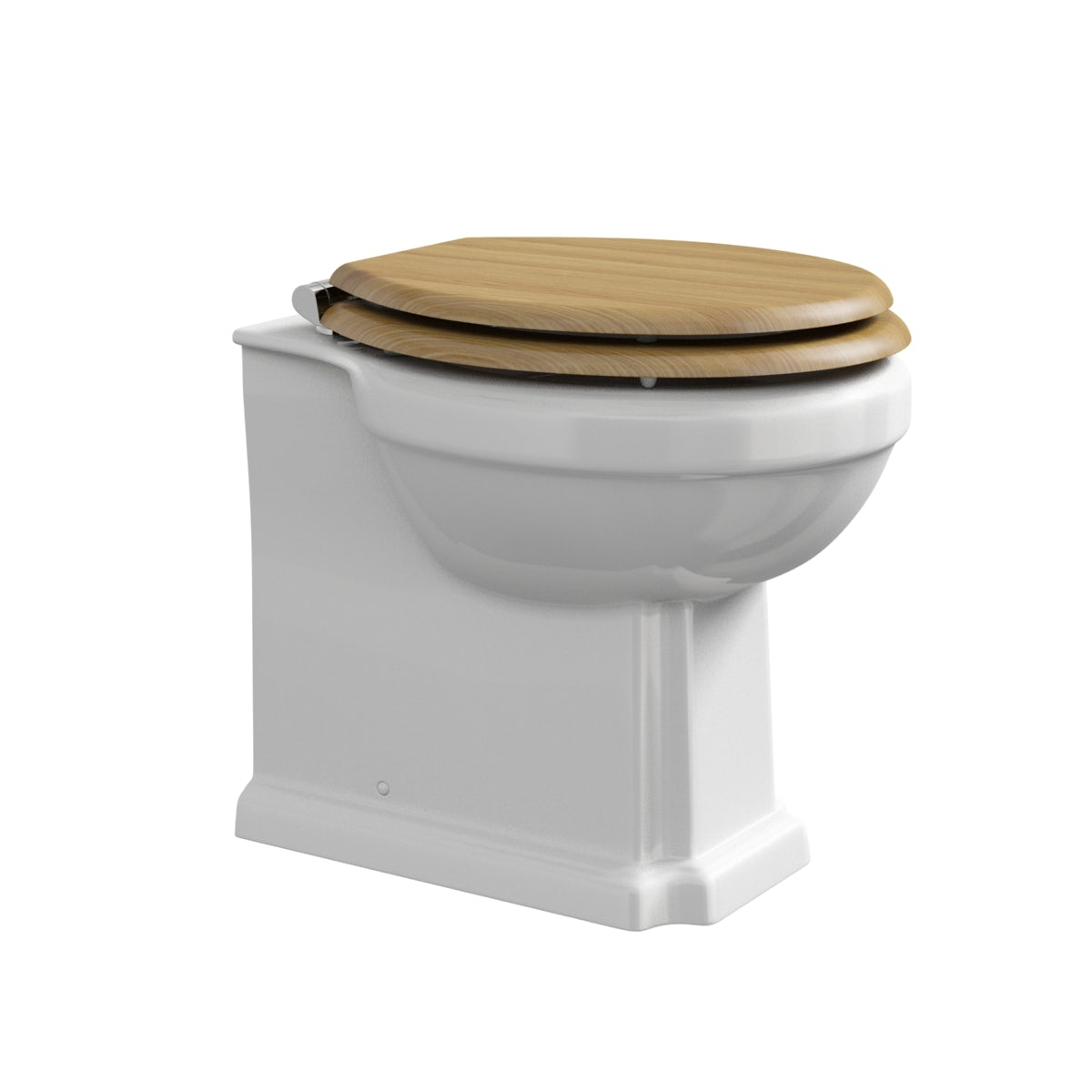 The Bath Co Camberley Back To Wall Toilet With Oak Effect Soft - Oak toilet seat soft close