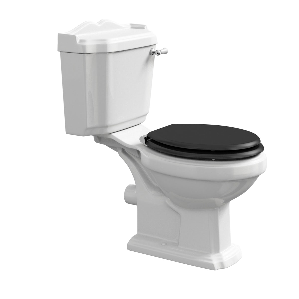white toilet with black seat. 360 Image Winchester close coupled toilet with painted wood seat black offer