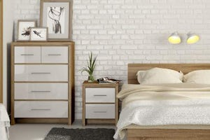 bedroom with white wooden furniture