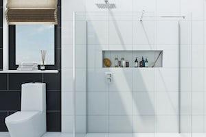 Wet room glass panels