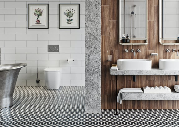 Get the look: Soft industrial bathrooms