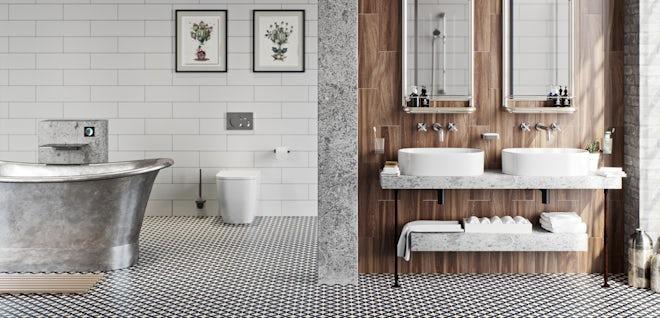 Get the look: Soft industrial bathrooms