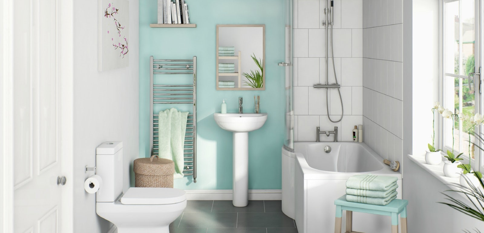 How to create a family friendly bathroom for Small bathroom natural