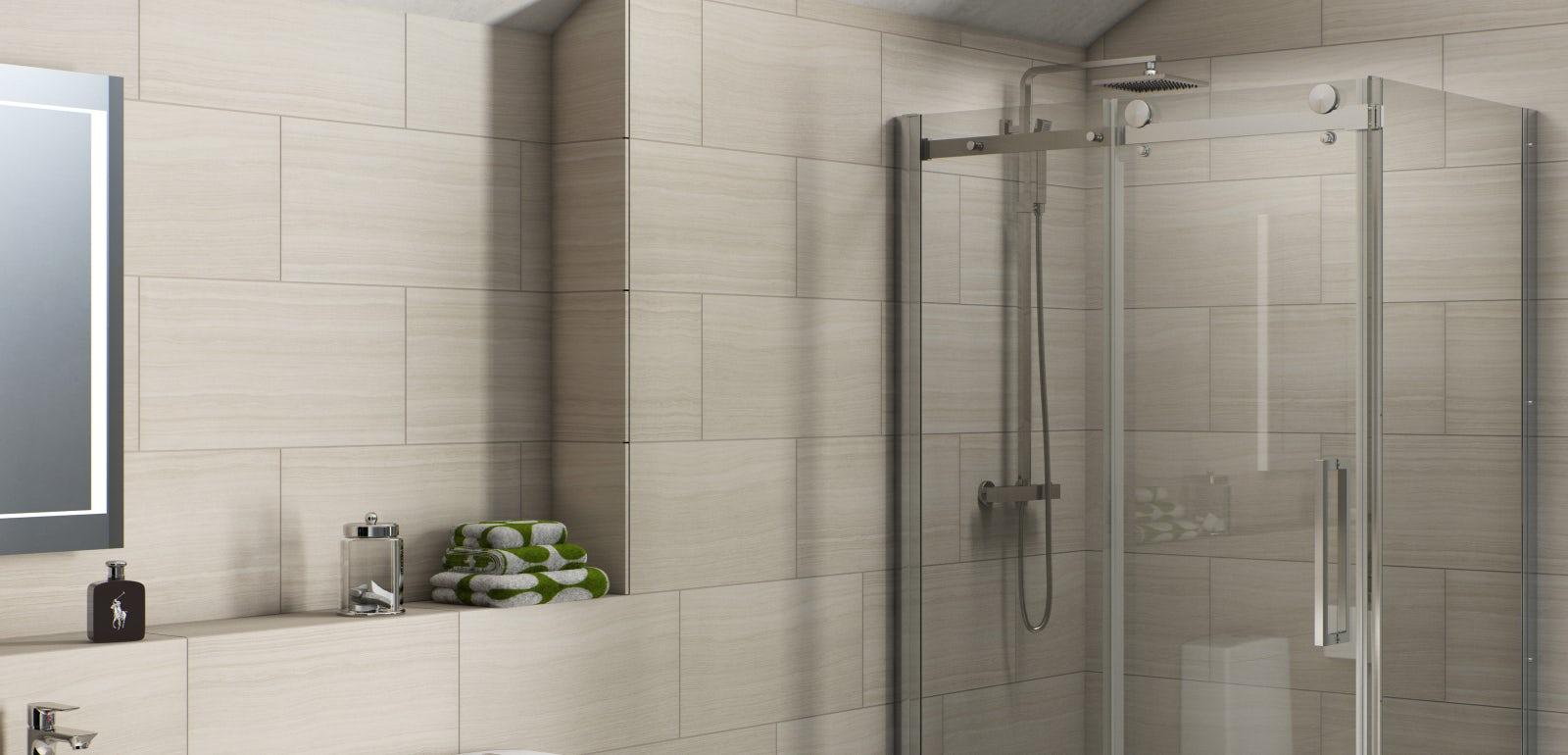 D shaped bottom shower enclosure