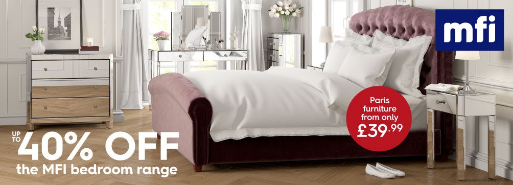 up to 40% off MFI bedroom range