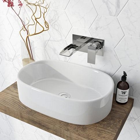 white counter top basin