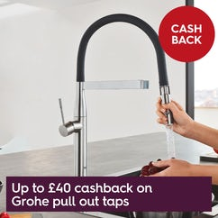 Up to £40 cashback on Grohe pull out taps