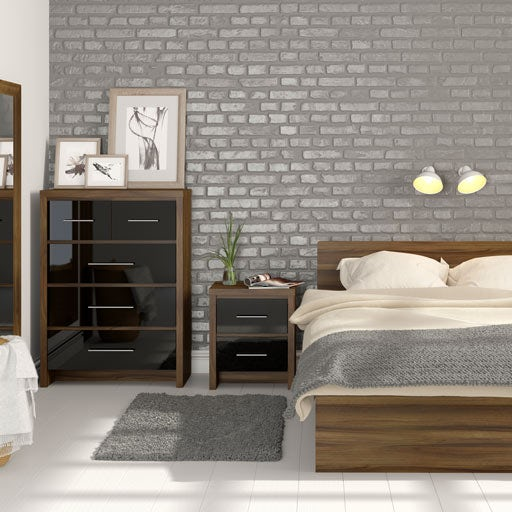 London Walnut and Black Gloss Bedroom Furniture