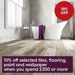 Save 10% off selected tiles, flooring, paint and wallpaper