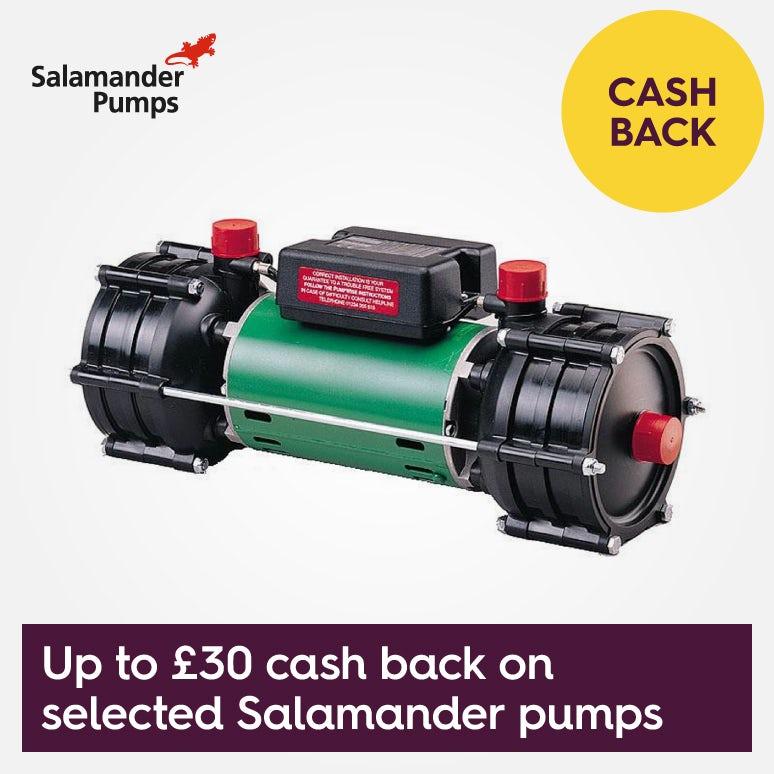 Up to £30 cash back on selected Salamander pumps