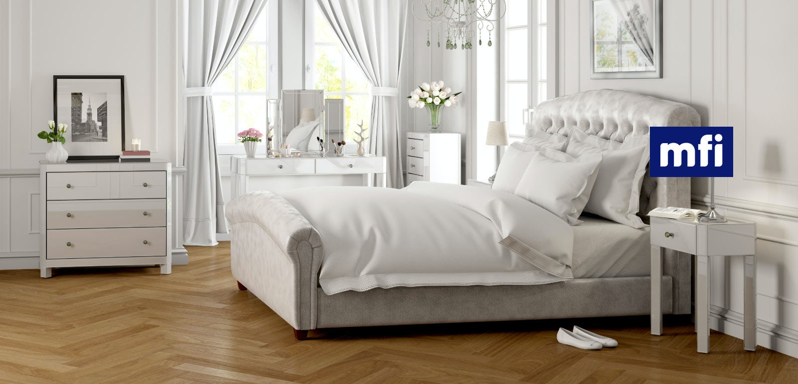 Paris white glass bedroom furniture