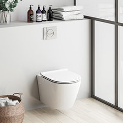 white wall hung toilet