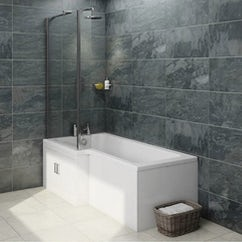 p shaped shower bath and towel rail