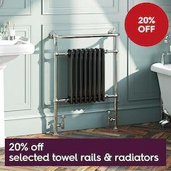 Hot deals - 20% off selected towel rails and radiators