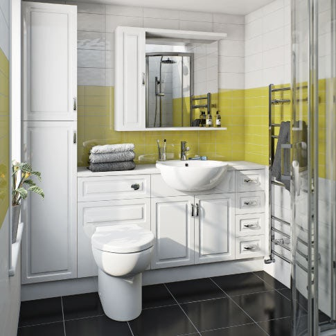 white fitted furniture and basin
