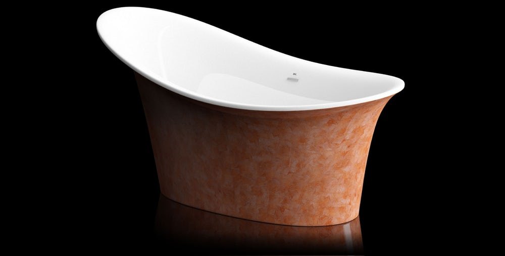 Copper red Fontana freestanding bath on a black background with reflection on a shiny floor; angled