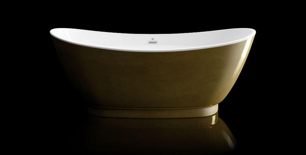 Opulent gold leaf coated Galvez freestanding bath on a black background with reflection on a shiny floor; side in