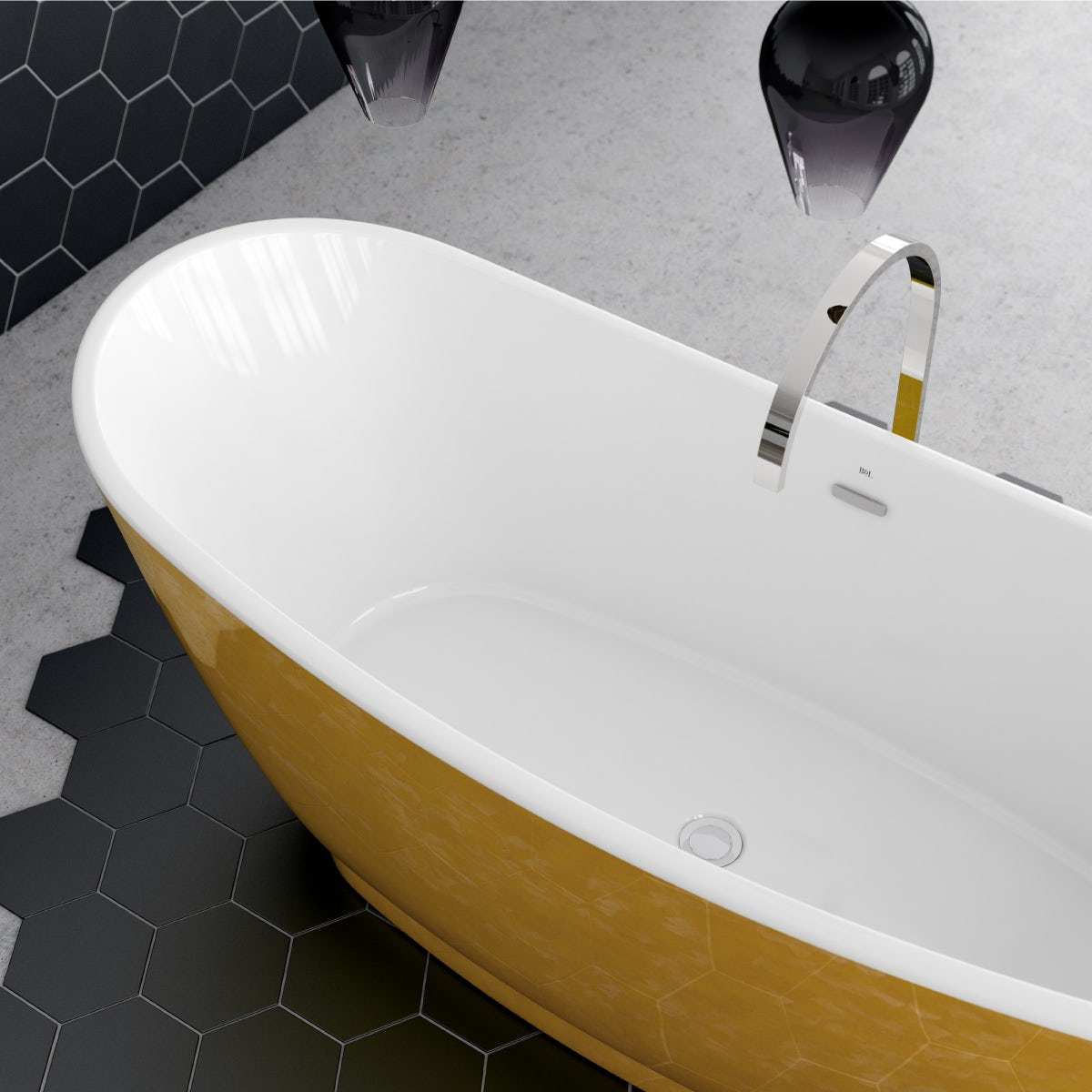 An angled birds-eye view of the of the golden Galvez freestanding bath; with a contemporary Avanzi tall freestanding tap