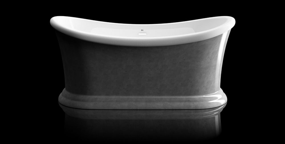Metallic silver leaf coated Charlet freestanding bath on a black beckground with reflection on a shiny floor; side on