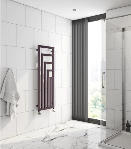 A Terma Angus radiator on a bathroom wall