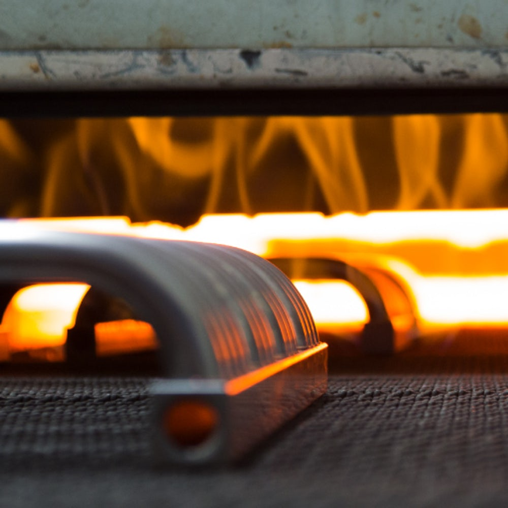 A furnace finishing a line of radiators