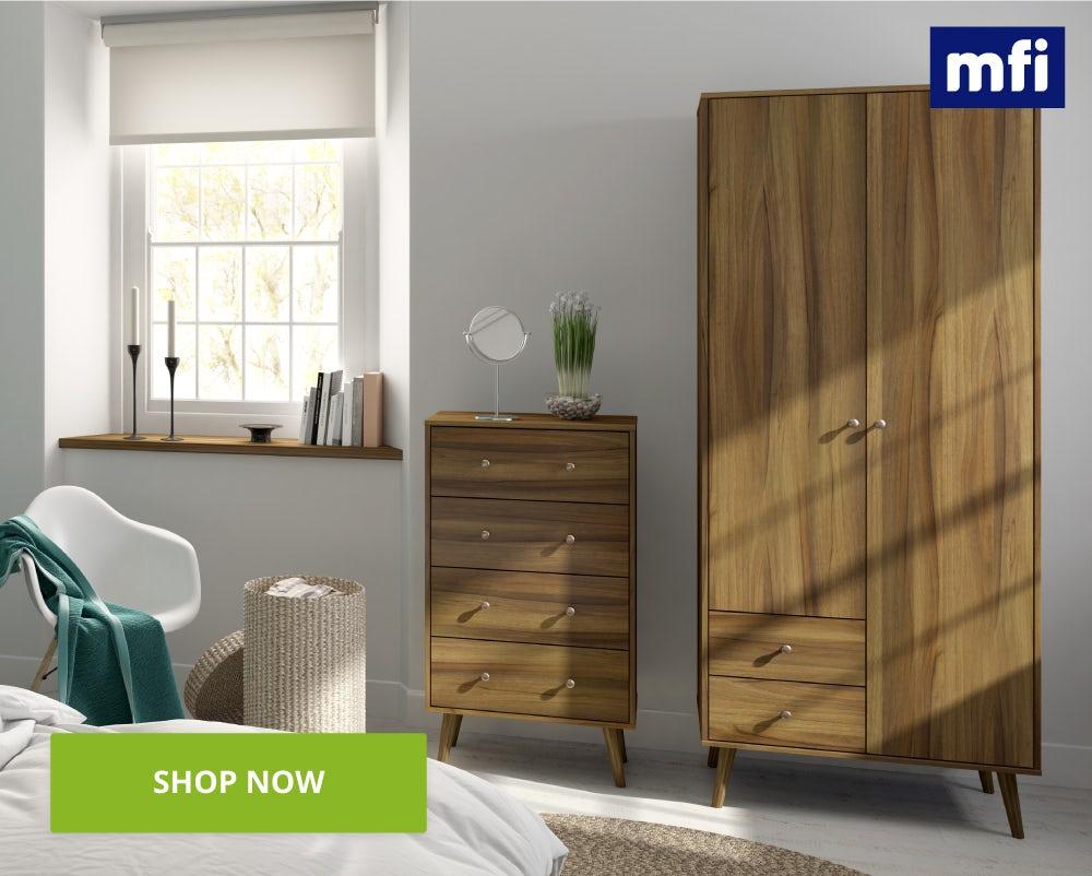 Helsinki walnut bedroom furniture shot