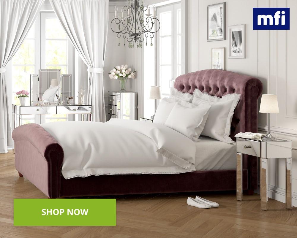 Paris mirrored glass bedroom furniture shot