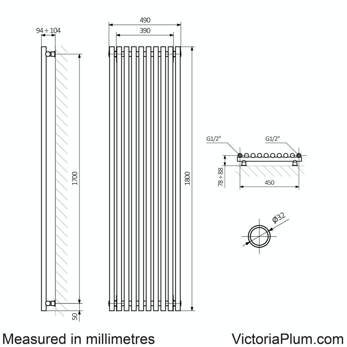 Dimensions for Terma Tune soft white single vertical radiator 1800 x 490