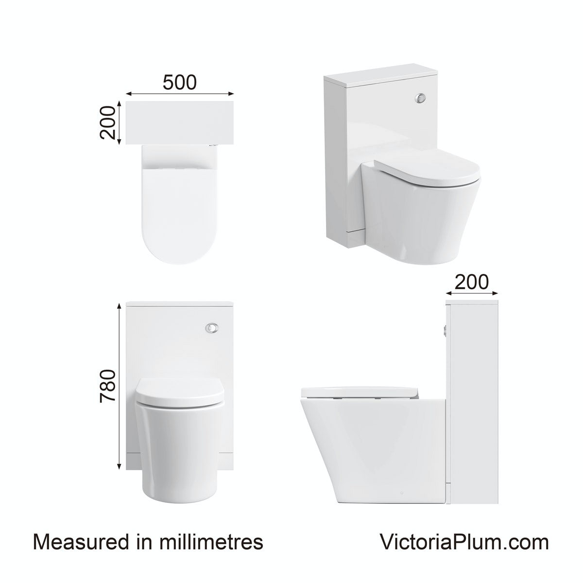 Dimensions for Clarity white back to wall toilet unit
