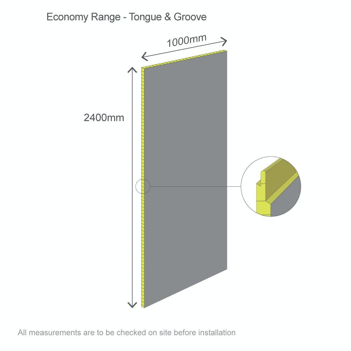 Dimensions for Multipanel Economy Sunlit Quartz shower wall single panel