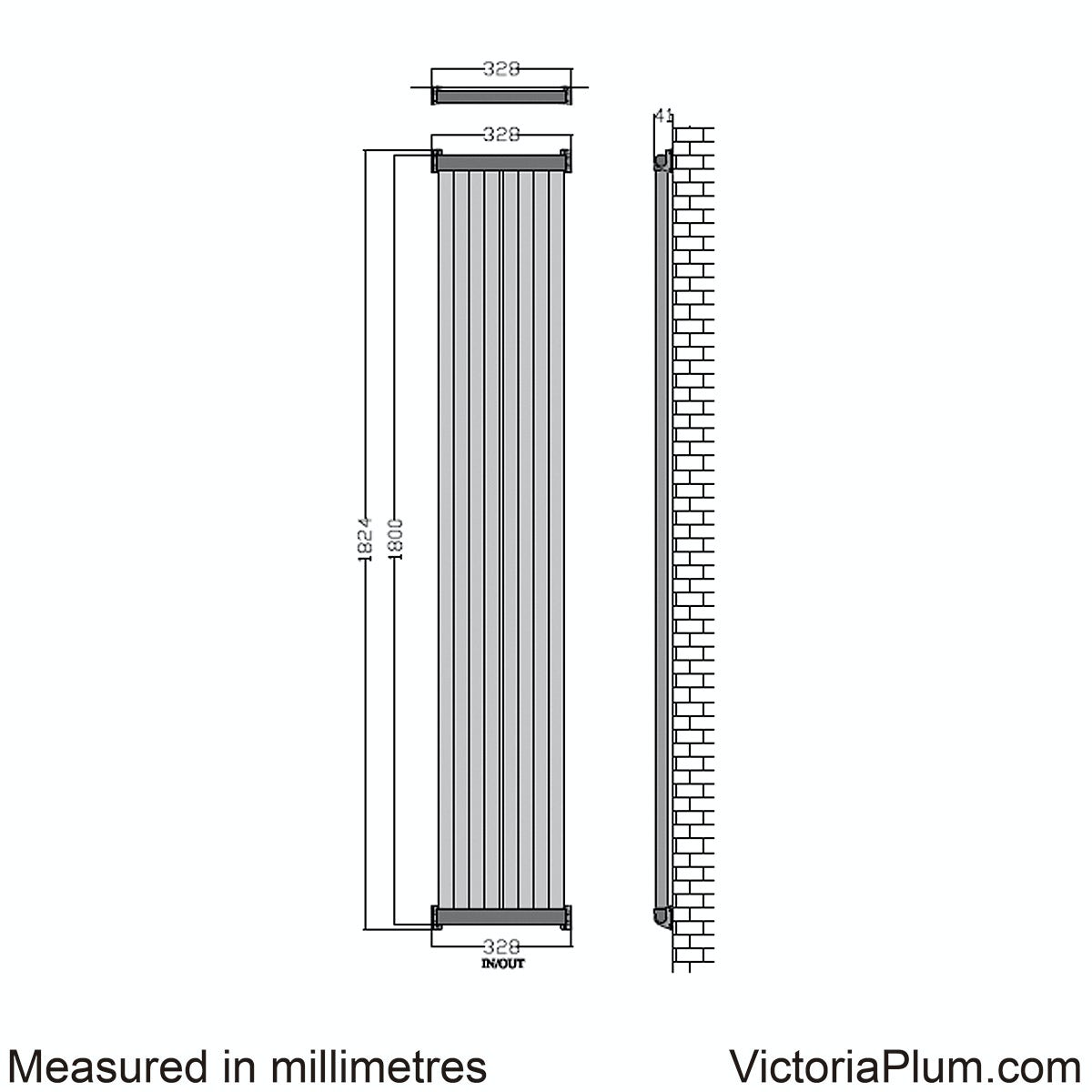 Dimensions for Mode Zephyra anthracite vertical radiator 1800 x 328