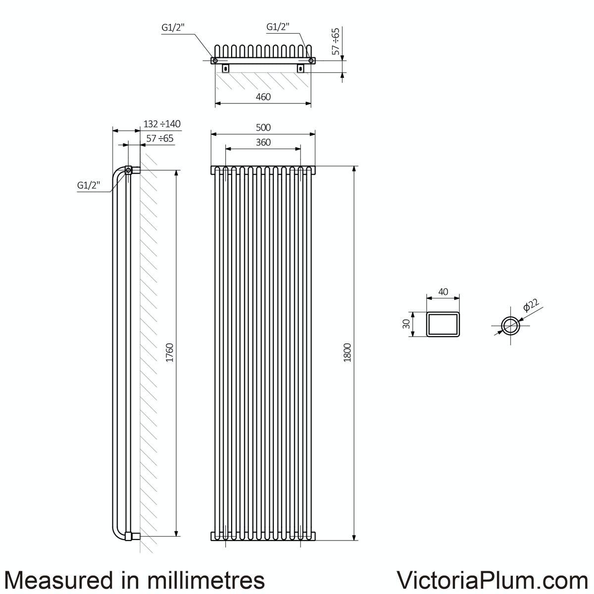 Dimensions for Terma Delfin pigeon blue vertical radiator 1800 x 500