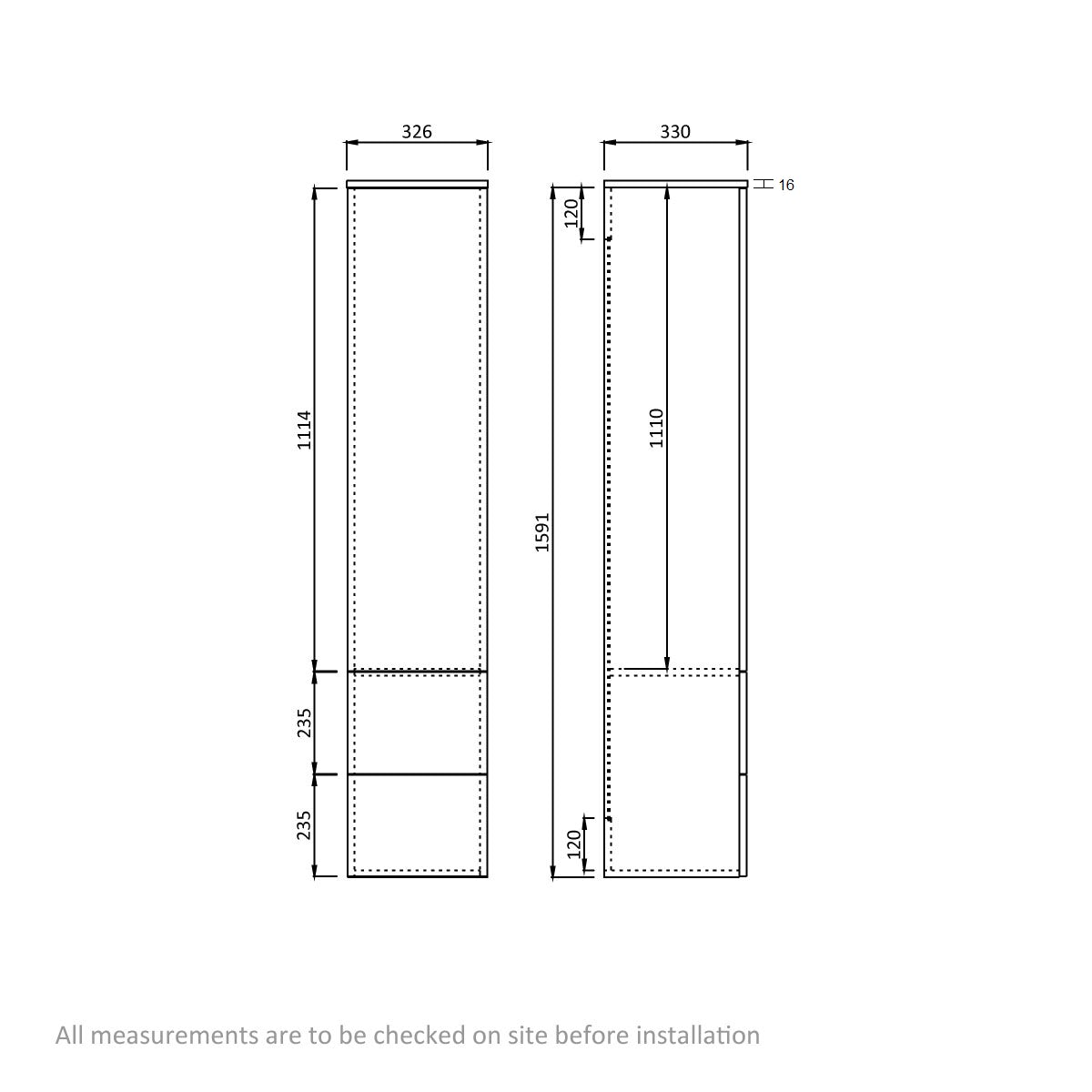 Dimensions for Orchard Wye walnut wall cabinet