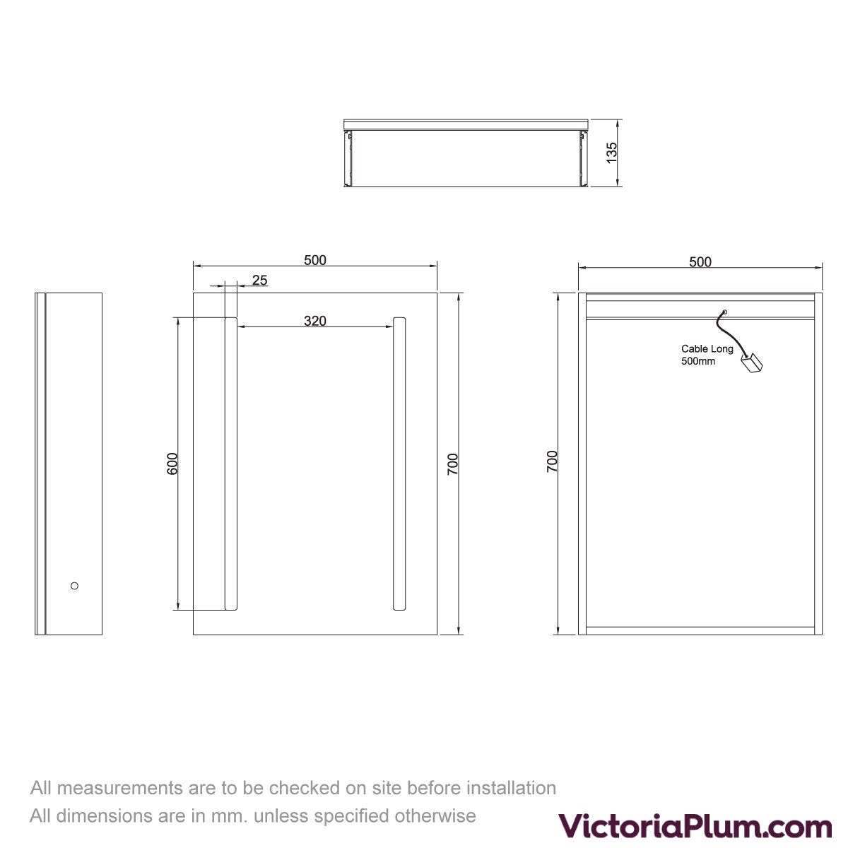 Dimensions for Mode Mellor LED dual lit mirror cabinet 500x700