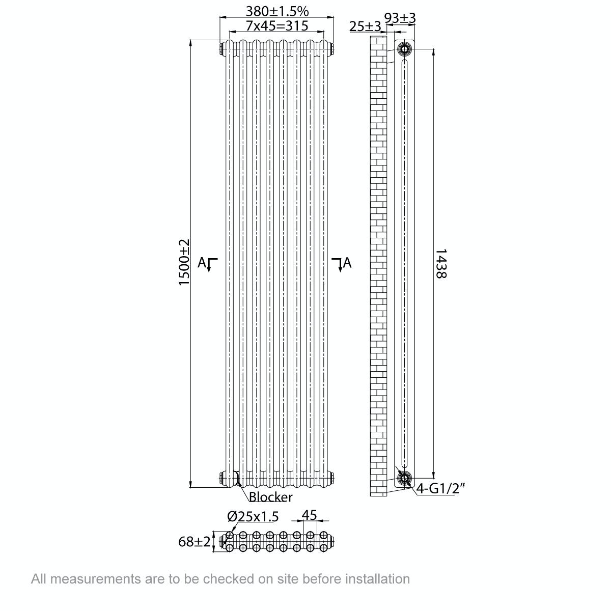 Dimensions for The Bath Co. Dulwich vertical white double column radiator 1500 x 380
