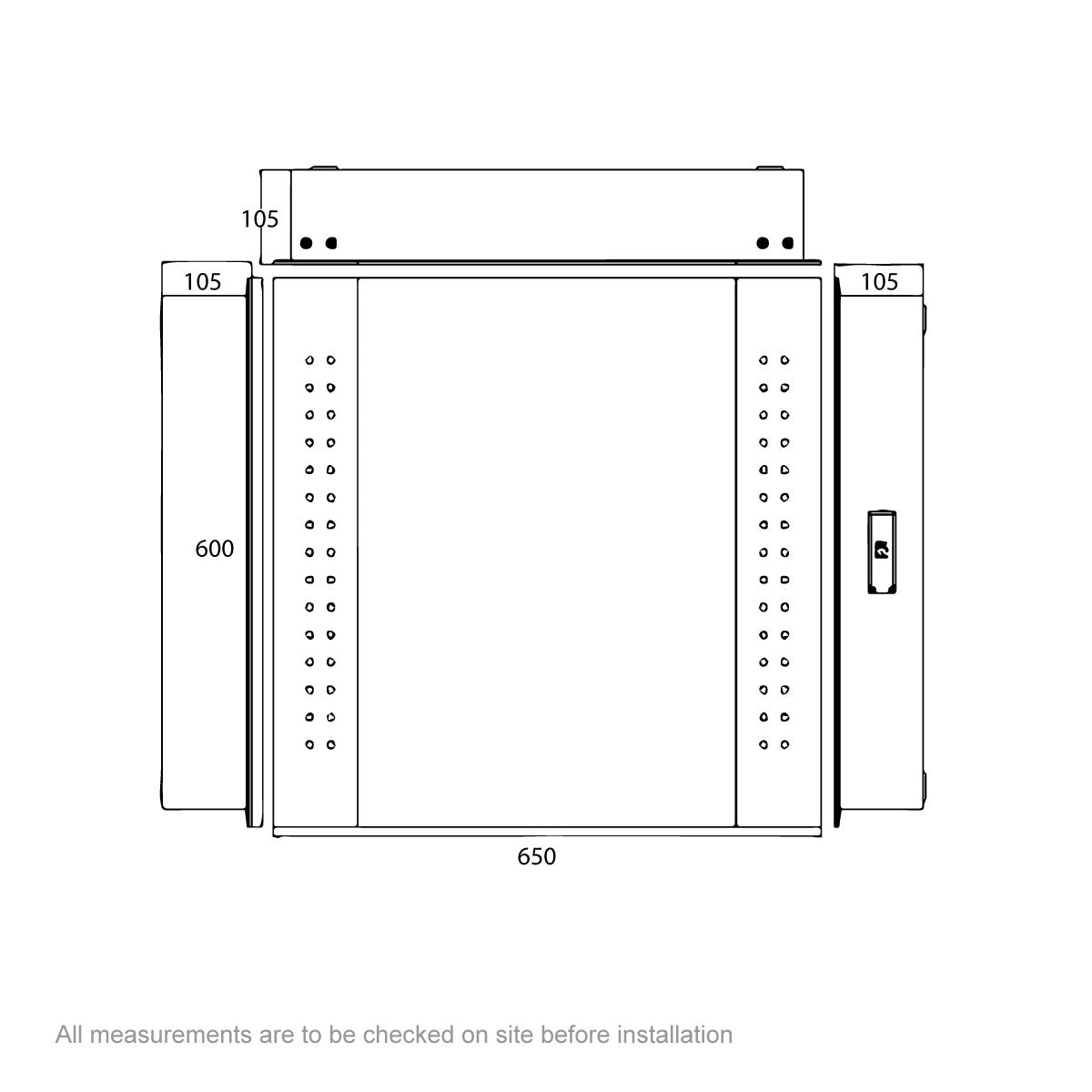 Dimensions for Mode Kaila LED mirror cabinet
