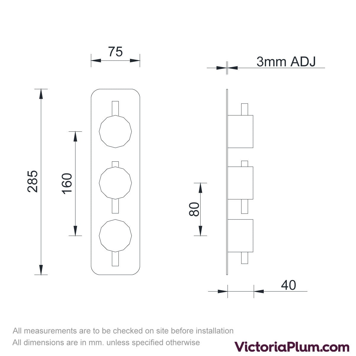 Dimensions for Mode Heath triple thermostatic shower valve