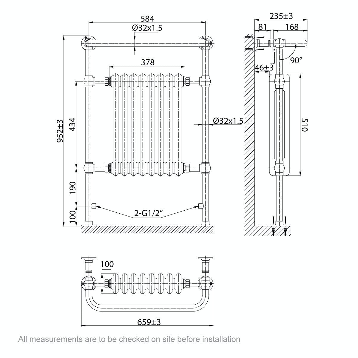 Dimensions for The Bath Co. Dulwich traditional radiator 952 x 659
