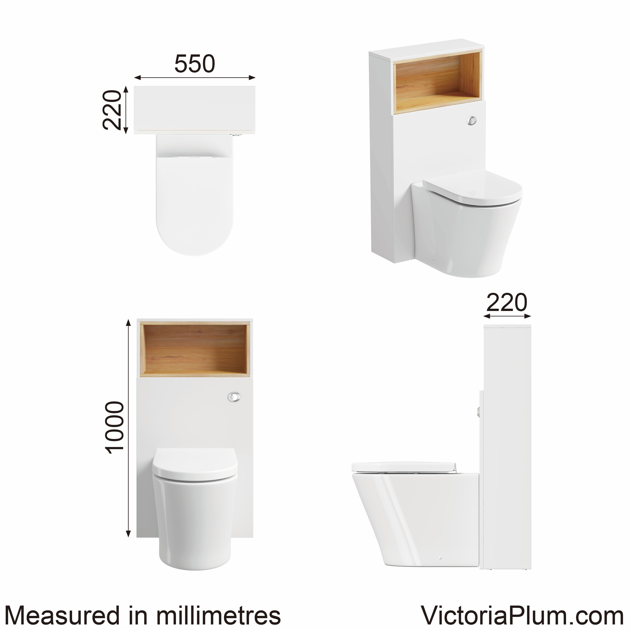 Dimensions for Mode Tate white & oak back to wall toilet unit