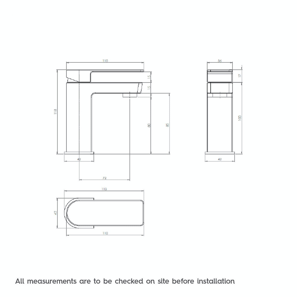 Dimensions for Mode Ellis cloakroom basin mixer tap