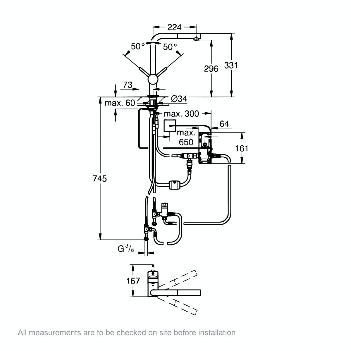 Dimensions for Grohe Minta Touch L spout kitchen tap