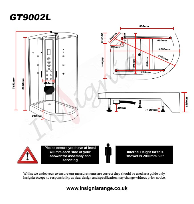 Dimensions for Insignia left handed offset quadrant hyrdo-massage shower cabin 1200 x 800