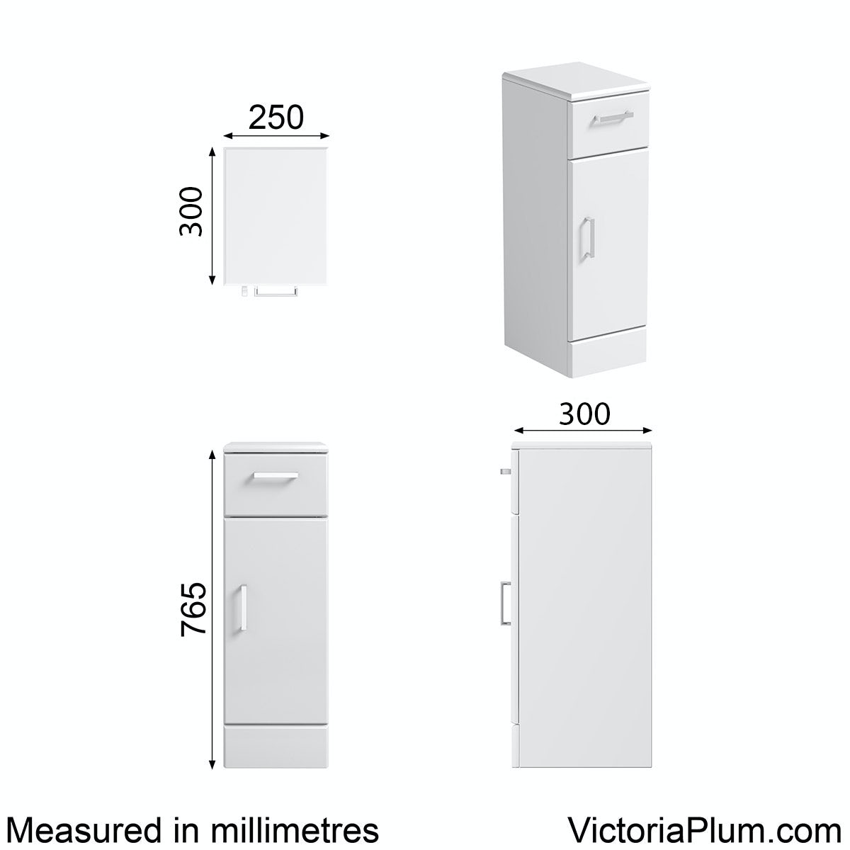 Dimensions for Orchard Eden white storage unit 300mm