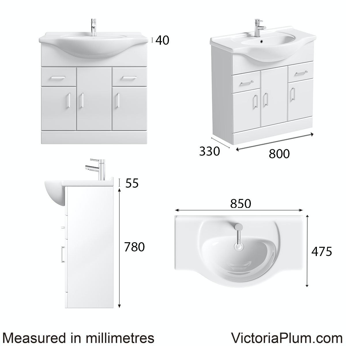 Dimensions for Eden white vanity unit and basin 850mm