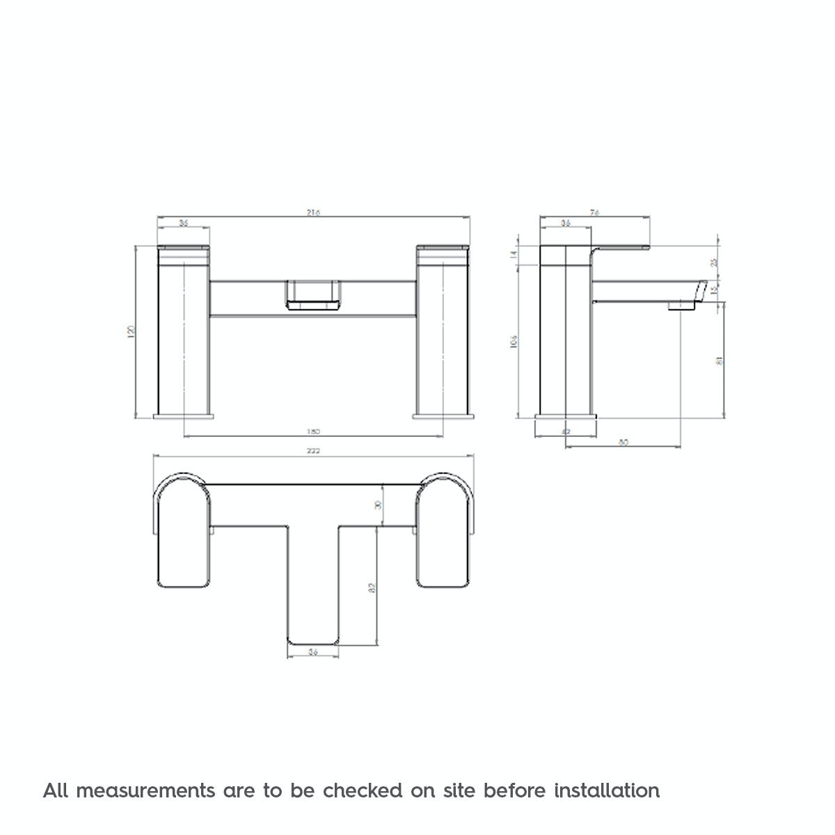 Dimensions for Mode Ellis bath filler tap