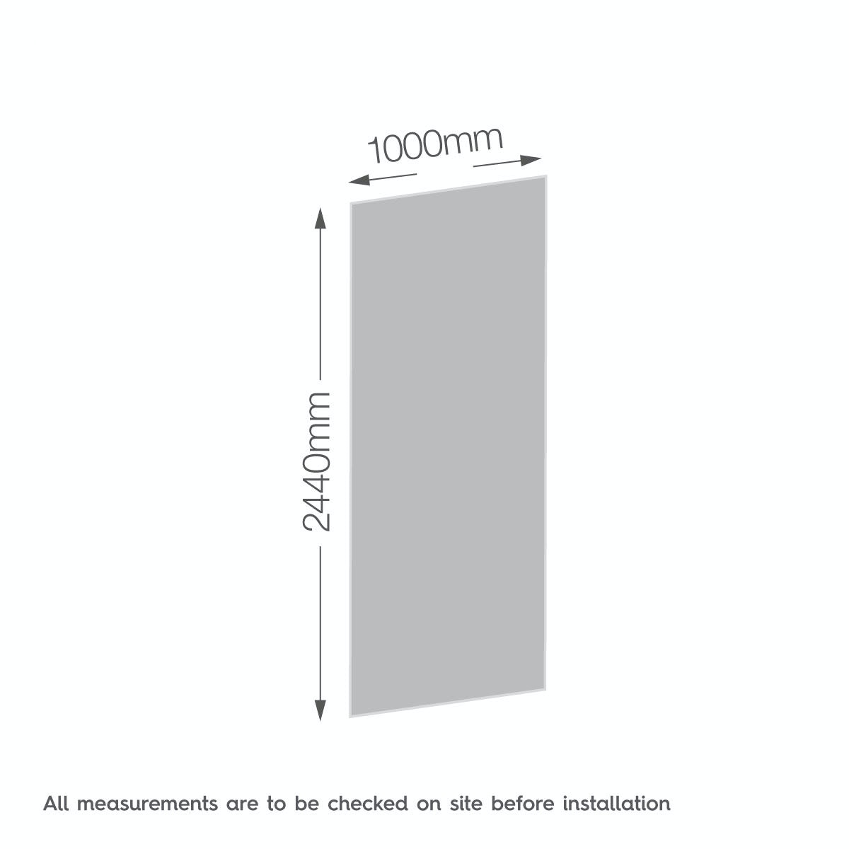 Dimensions for Zenolite plus ice acrylic shower wall panel 2440 x 1000