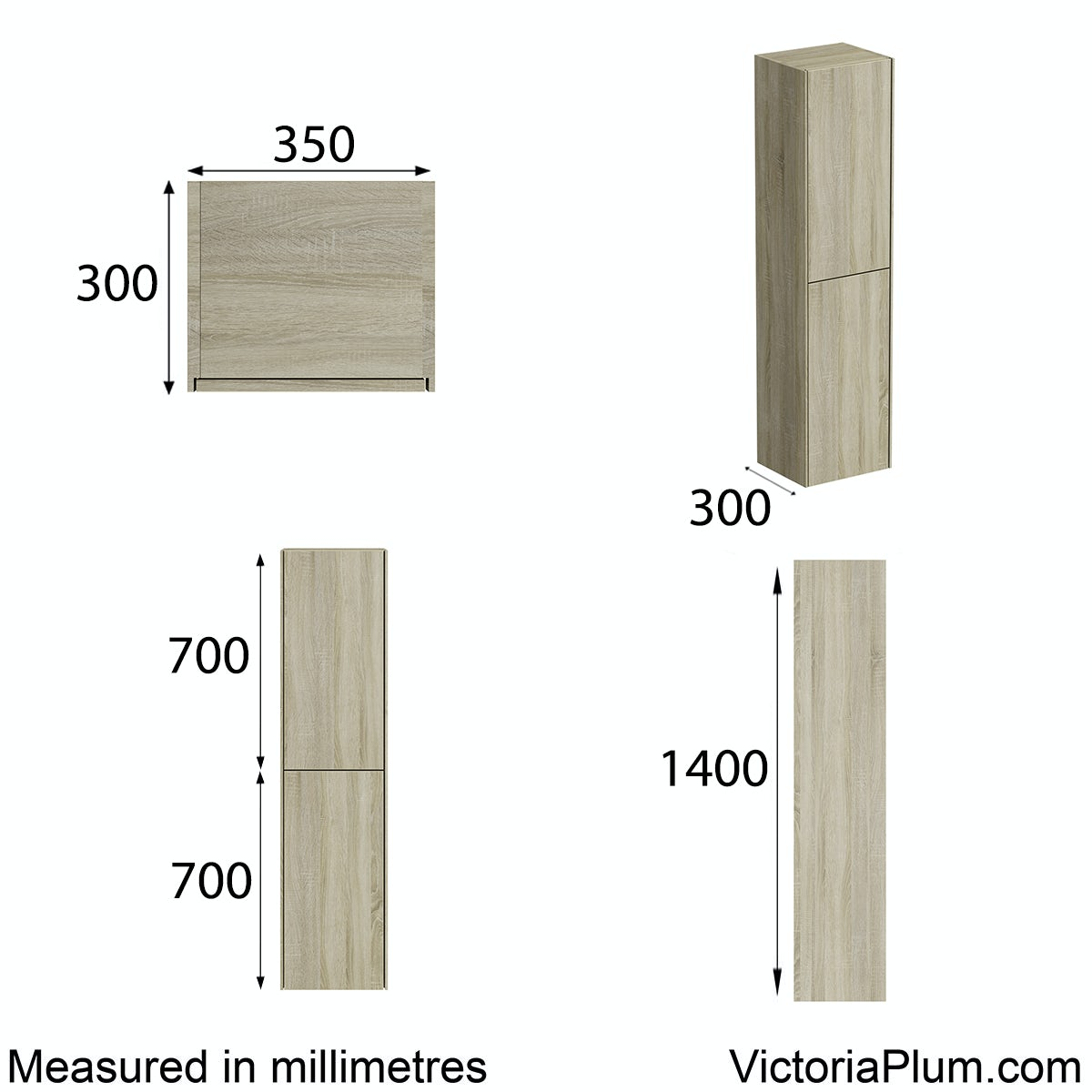 Dimensions for Mode Austin oak wall cabinet